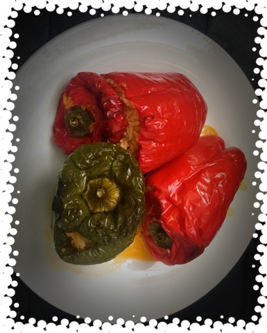 Gemista (Stuffed Peppers with rice and vegetables)