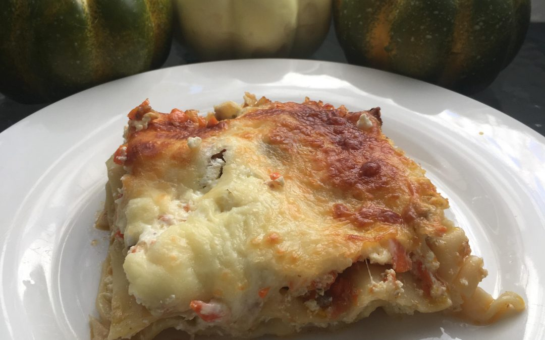 Lasagna with ground meat, veggies, and cheese