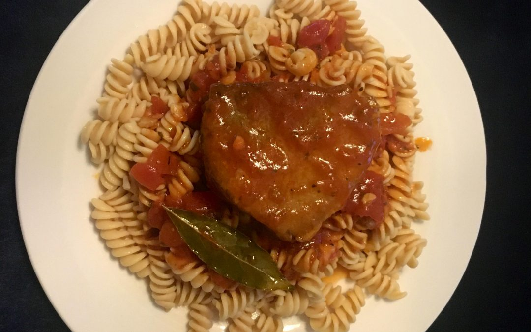Kokkinisto with chickpea pasta ( Greek Style Beef Stew in Tomato Sauce