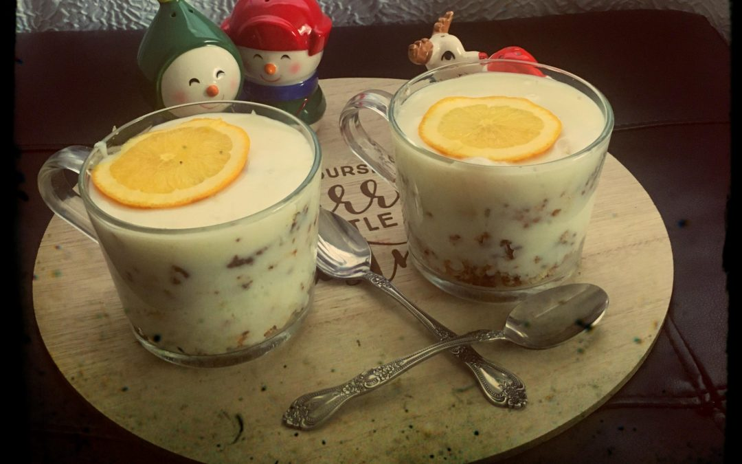 Orange Pudding with leftover cake
